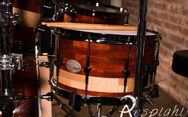 Detail of a Respighi Drums handmade snare drum in padouk and maple