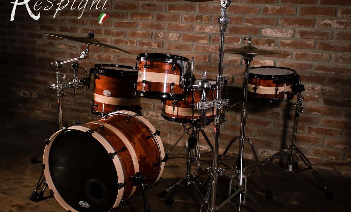 picture of a Respighi Drums drumset in padouk and maple