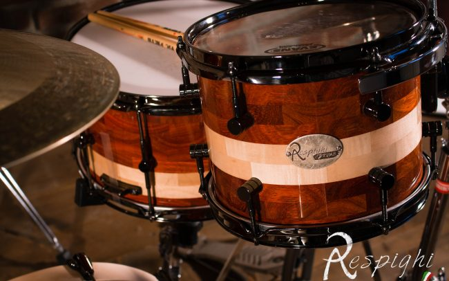 picture of a Respighi Drums tom and snare drum in padouk and maple