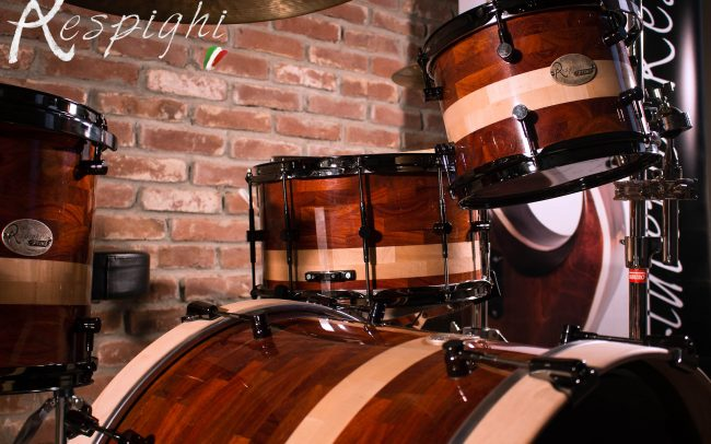 Detail of a Respighi Drums hamade drumset in padouk and maple