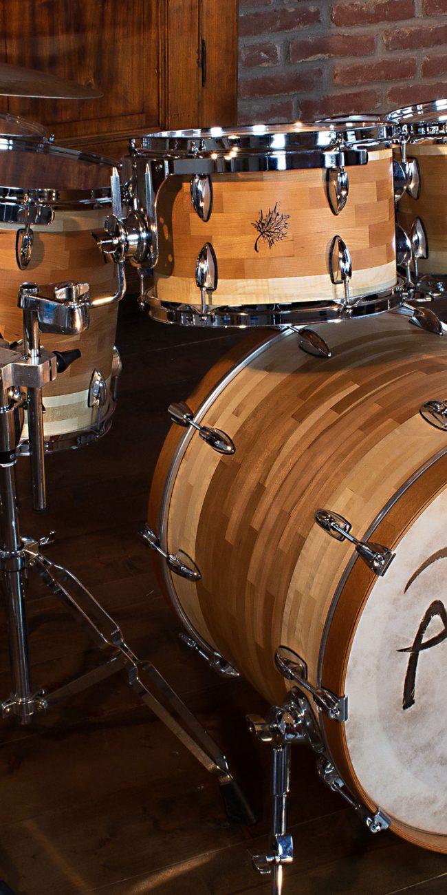 batteria artigianale in ciliegio cherry drumset