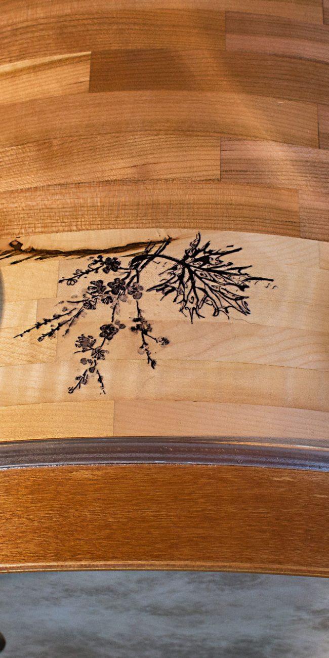 cassa di una batteria artigianale in ciliegio