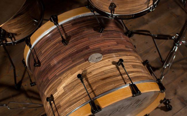 batteria artigianale in palissandro e zebrano rosewood cassa
