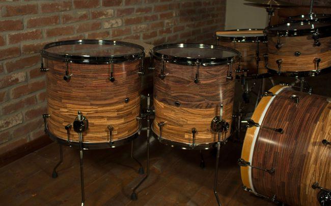 batteria artigianale in palissandro e zebrano rosewood timpani