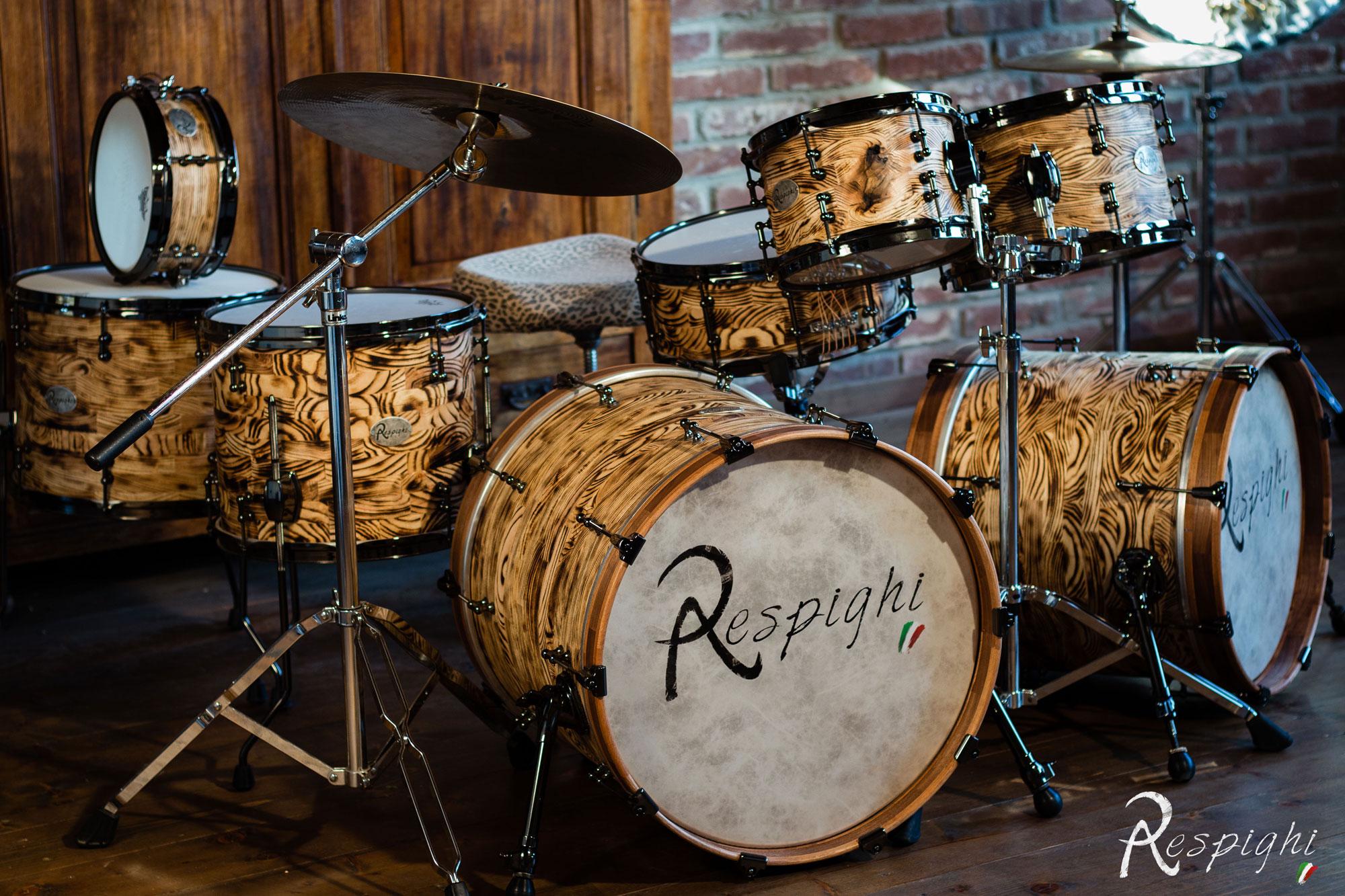 batteria a doghe orizzonatali zebrano - segmented drum solid zebrawood