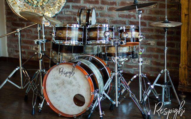 batteria acustica artigianale in frassino e padouk set completo