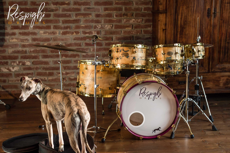 batteria artigianale doghe orizzontali radica di pioppo - handmade segmented drum poplar burl
