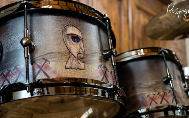 Tom della Batteria Artigianale Pink Floyd Tribute in Black Limba by Respighi Drums