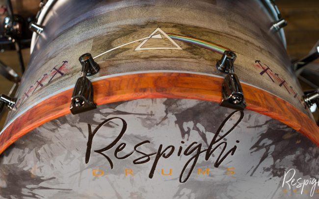 Cassa Batteria Artigianale Pink Floyd Tribute in Black Limba by Respighi Drums