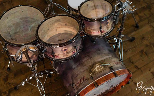 Batteria artigianale Pink Floyd Tribute, set completo a doghe orizzontali in legno massello by Respighi Drums