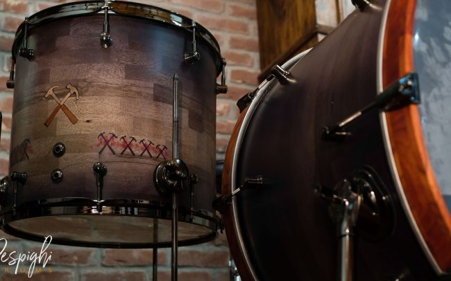 Timpano Batteria Artigianale Pink Floyd Tribute in Black Limba by Respighi Drums