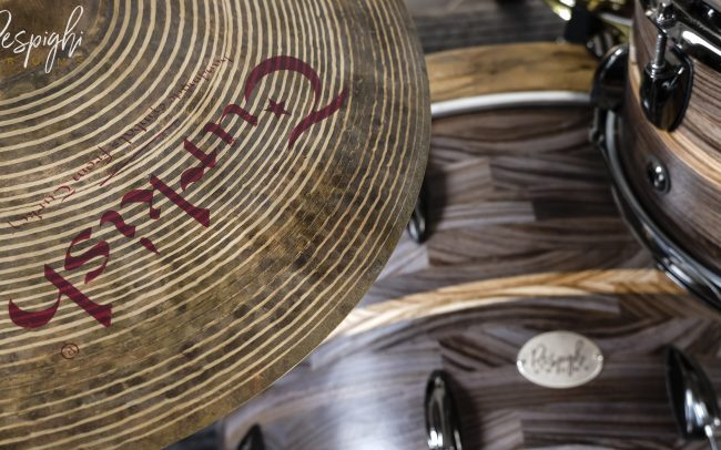 Batteria Smoked Zebra Cristiano Bacherotti Respighi Drums in Zebrano