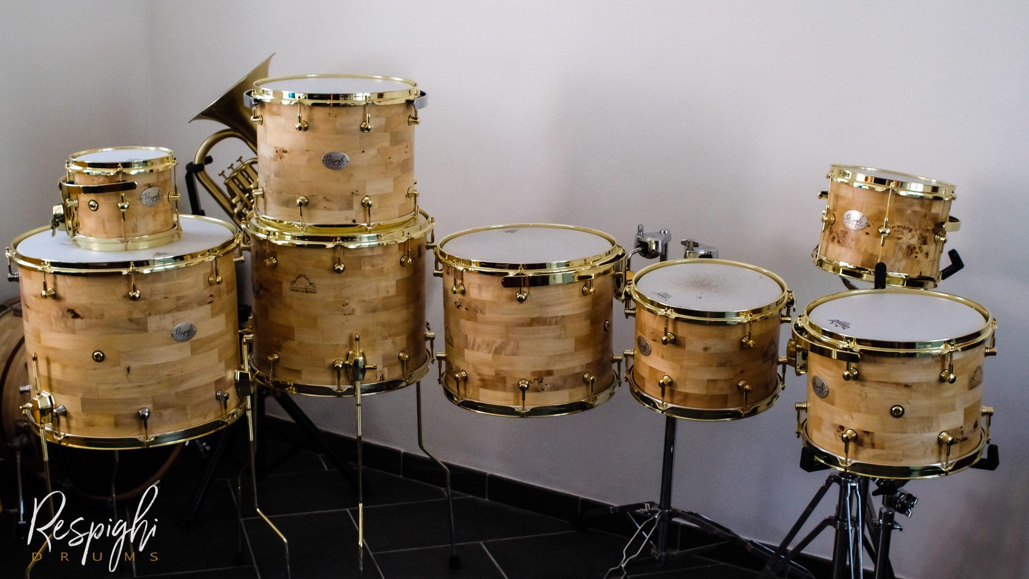 Set di tom da concerto Leon Lorenz in Radica di pioppo di Respighi Drums
