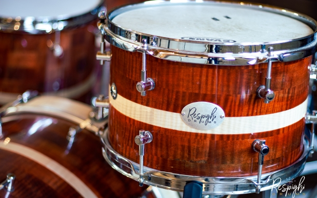 Tom a doghe orizzontali Royal Maple in acero marezzato di Respighi Drums