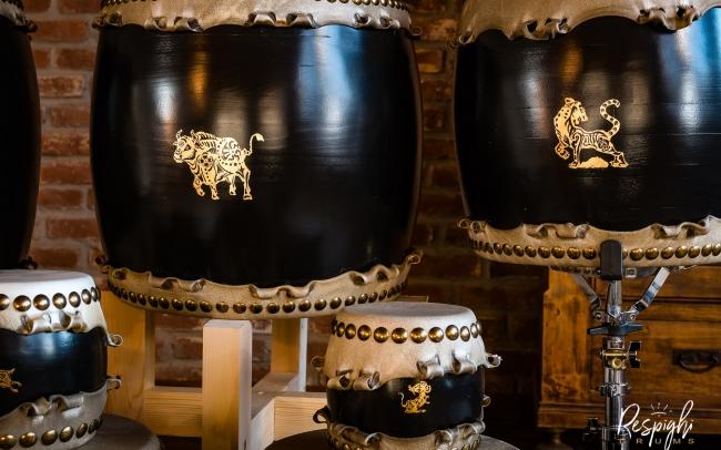 China Taiko in Rovere e pioppo e foglia d'oro toro, topo e tigre
